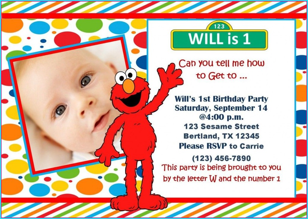 Elmo 1st Birthday Invitations