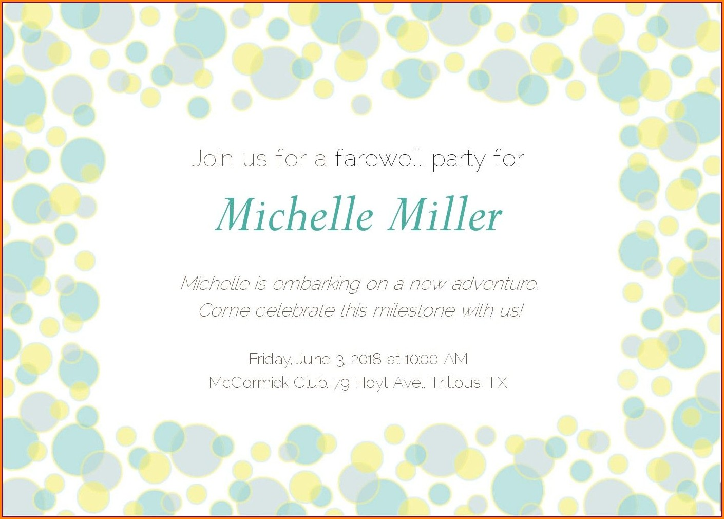 Employee Farewell Lunch Email Invitation For Coworker
