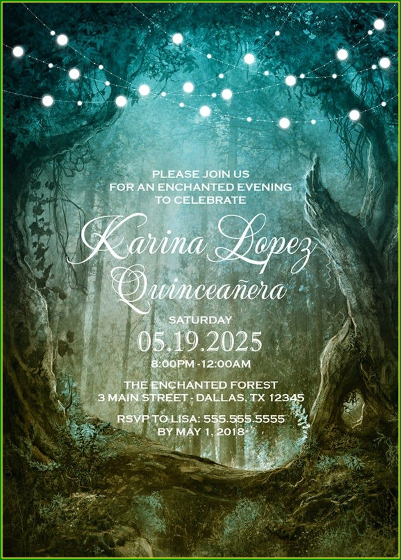 Enchanted Forest Quinceanera Invitations