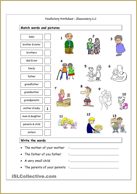 English Worksheet For Kindergarten My Family