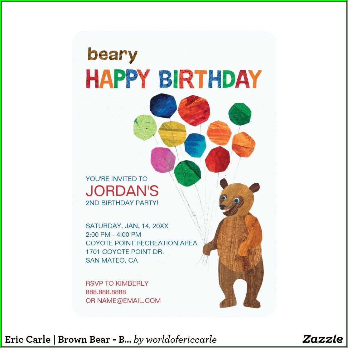 Eric Carle Brown Bear Invitations