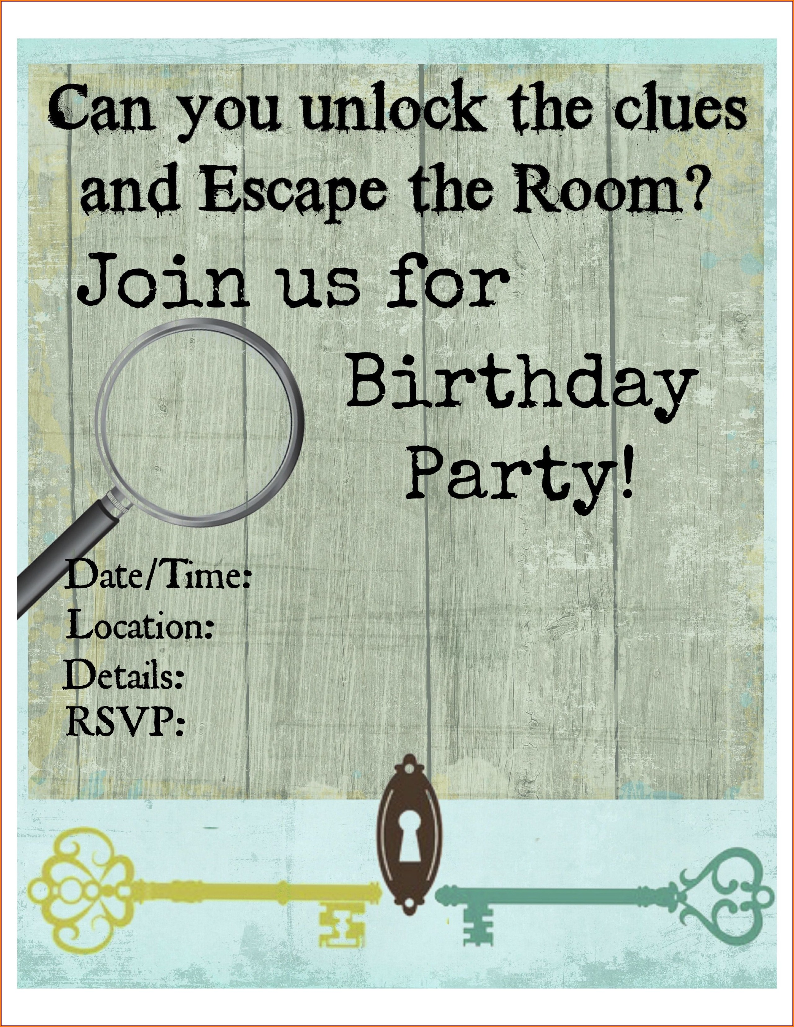 Escape Room Invitations Free