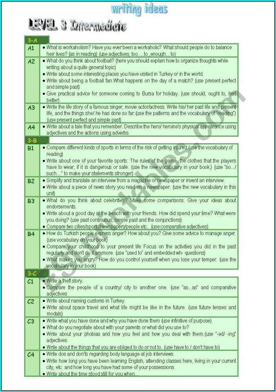 Esl Intermediate Writing Worksheet