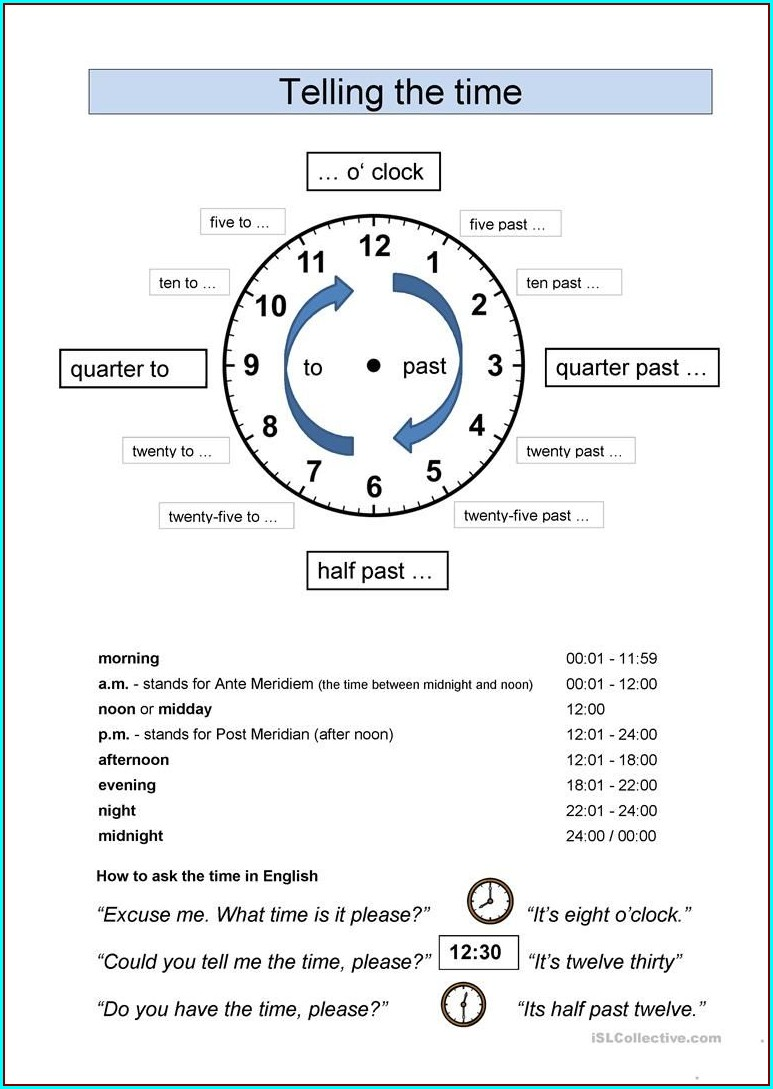 Esl Worksheets Telling The Time