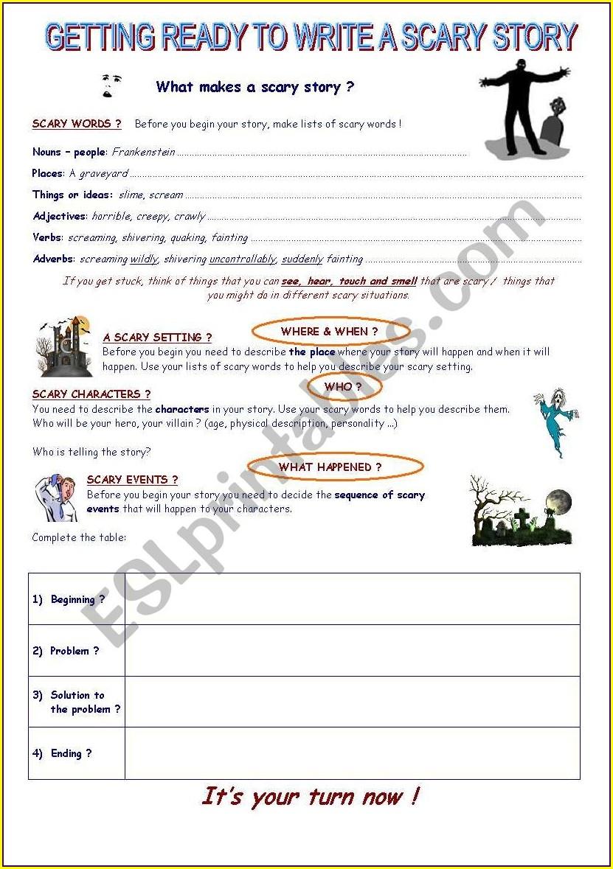 Esl Writing A Story Worksheet