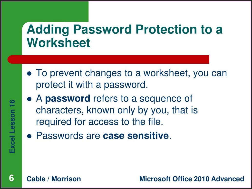 Excel 2007 Password Protect Shared Workbook