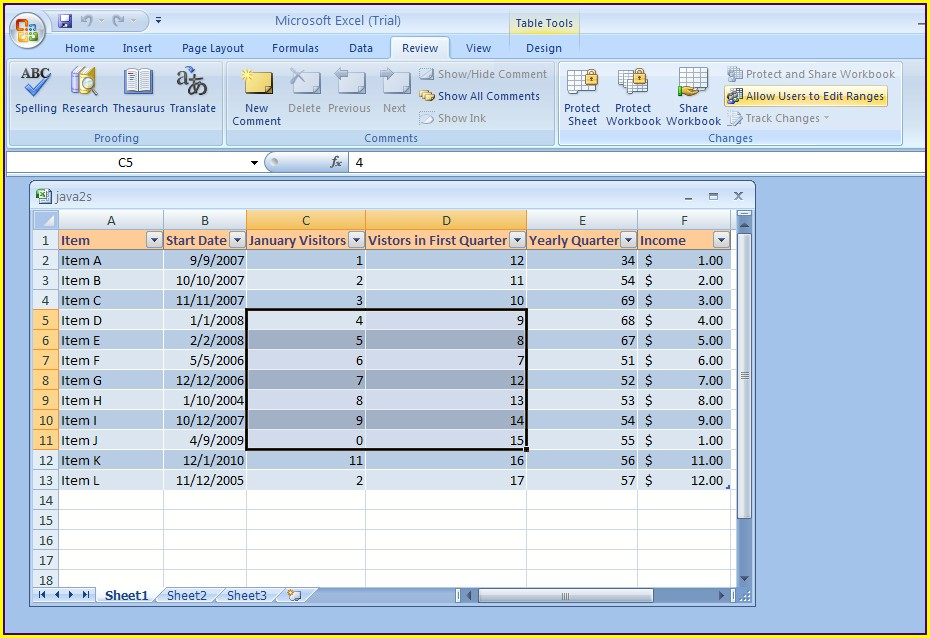 Excel 2007 Password Protect Worksheet