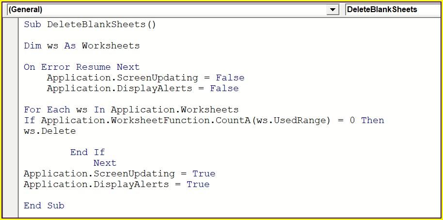 Excel Vba Delete Empty Worksheets