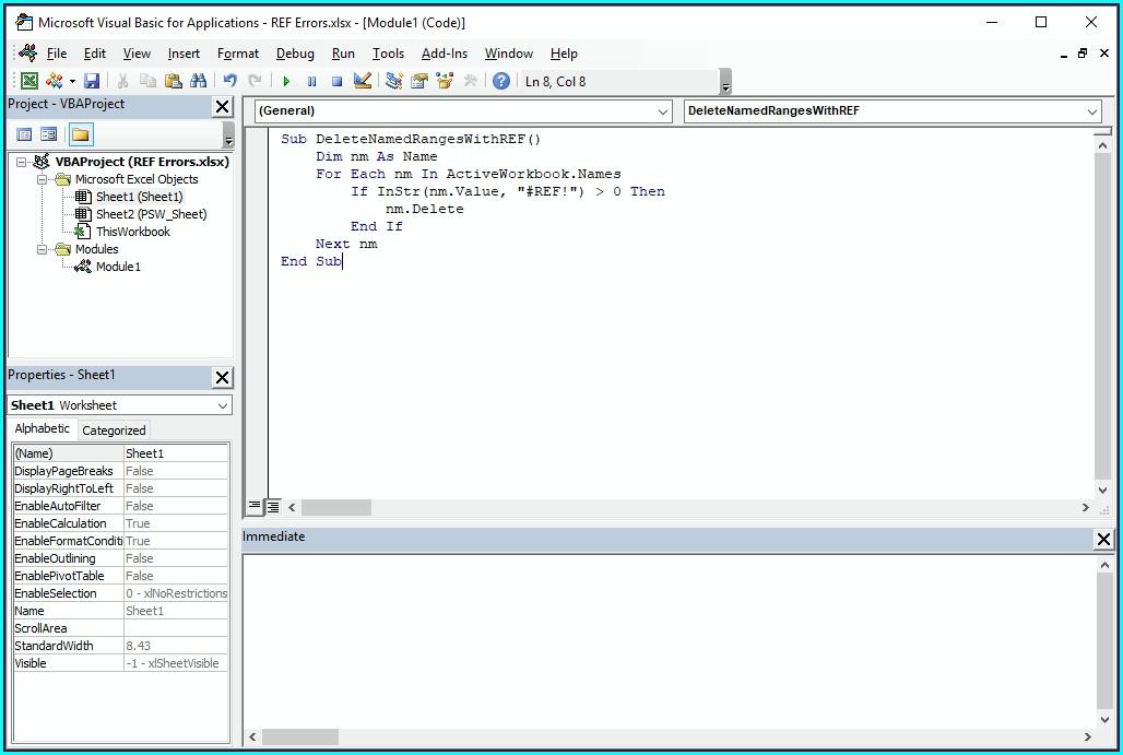 Excel Vba Delete Range Names Worksheet