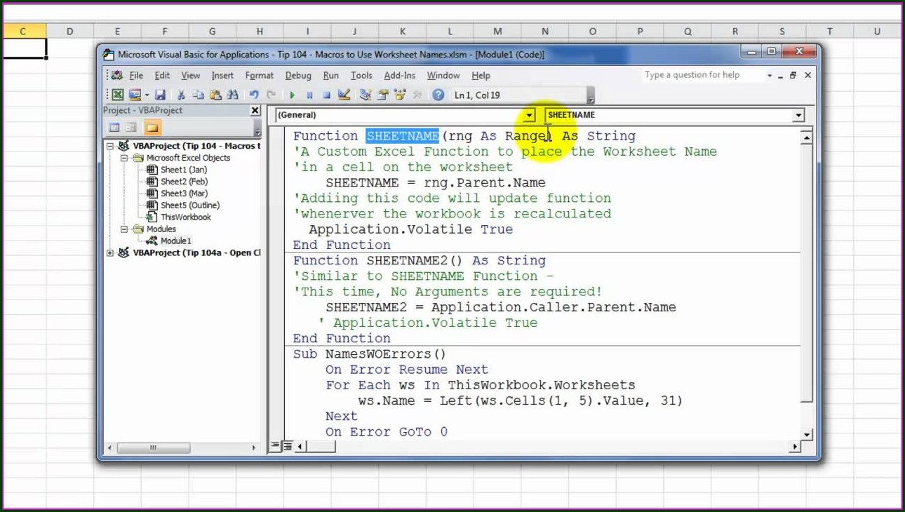 Excel Vba Set Worksheet Name To Cell Value