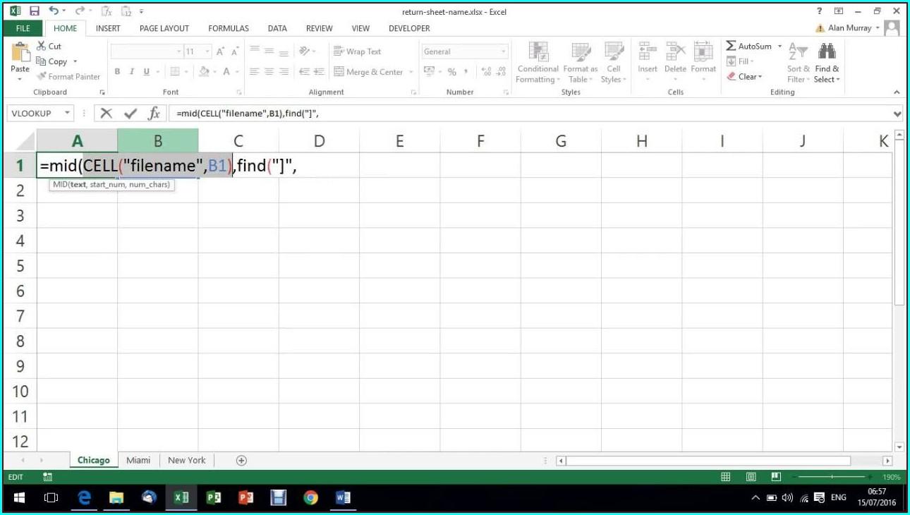 Excel Vba Worksheet Name Formula
