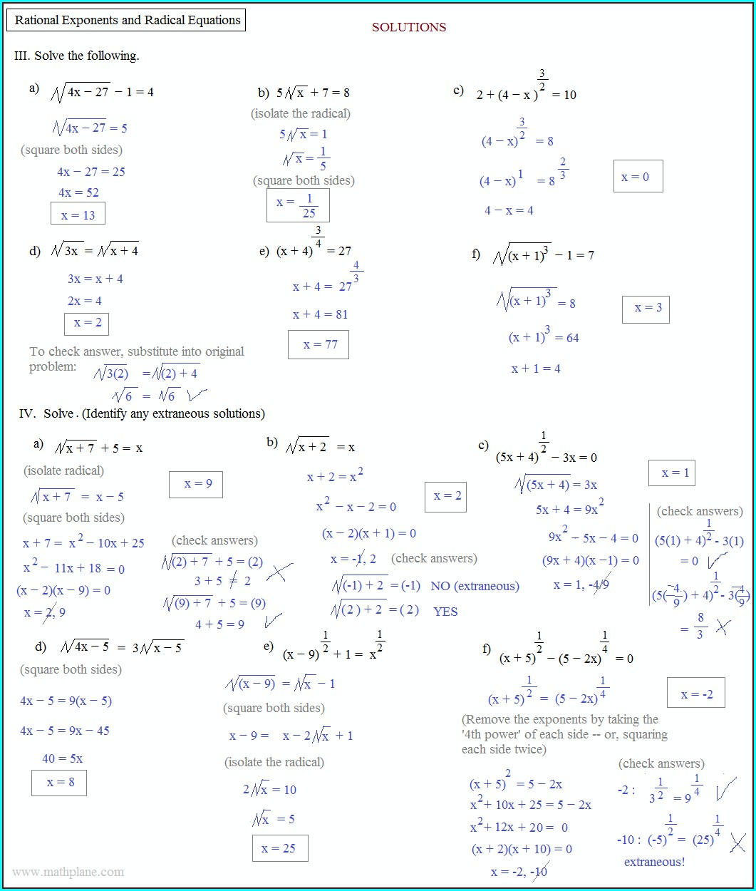 Exponent Rules Worksheet Answers Algebra 2