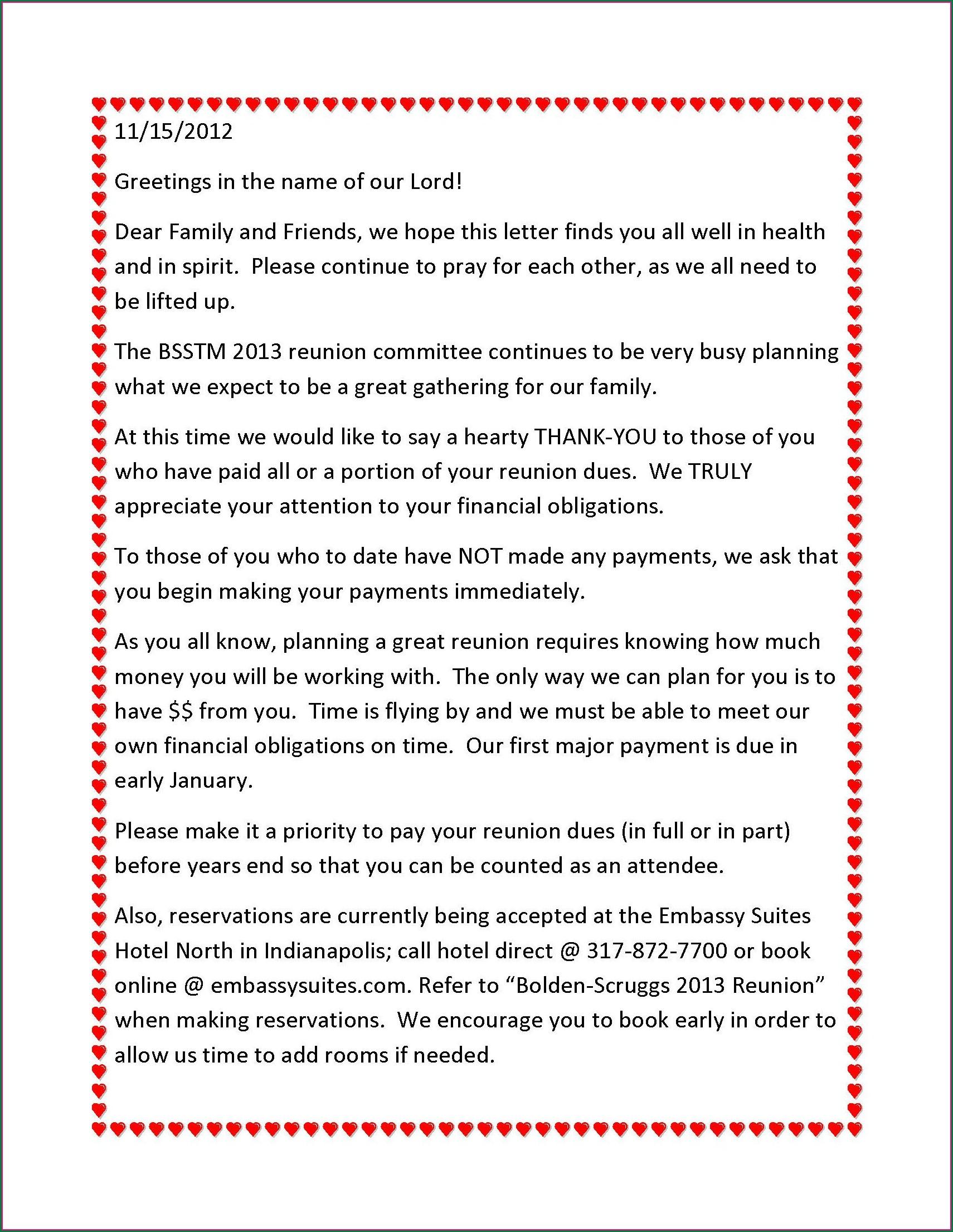 Family Gathering Family Reunion Invitation Letter