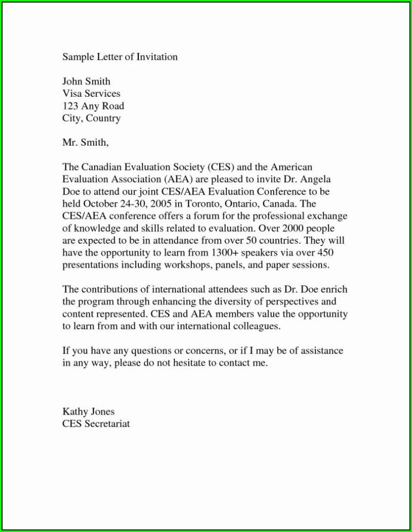 Family Invitation Letter For Australian Tourist Visa