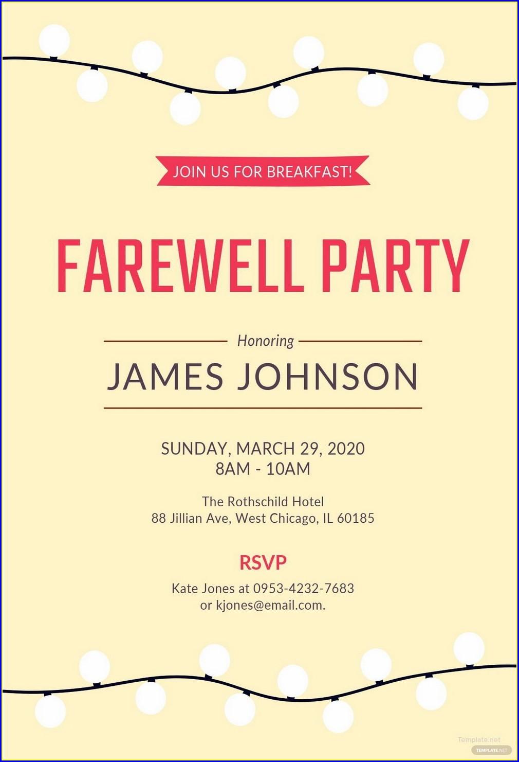 Farewell Invitation Card Template