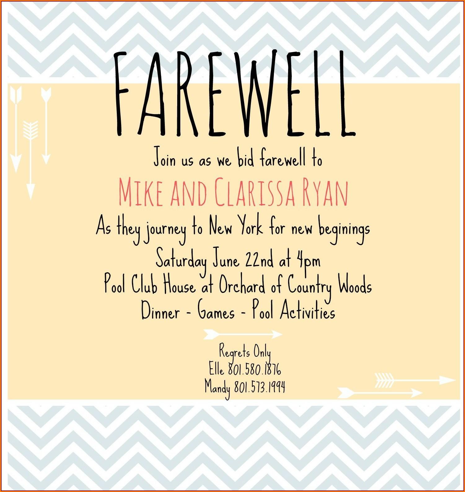 Farewell Lunch Invitation Card