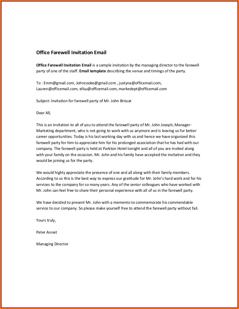 Farewell Lunch Invitation Email To Colleagues Sample
