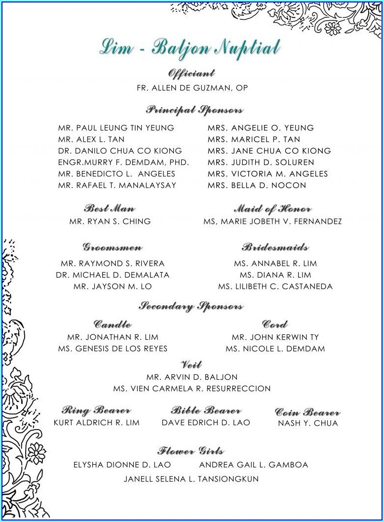 Filipino Wedding Invitation Entourage Wording Samples