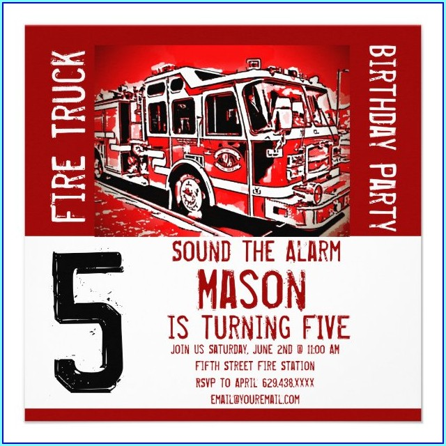 Fire Engine Birthday Invitations