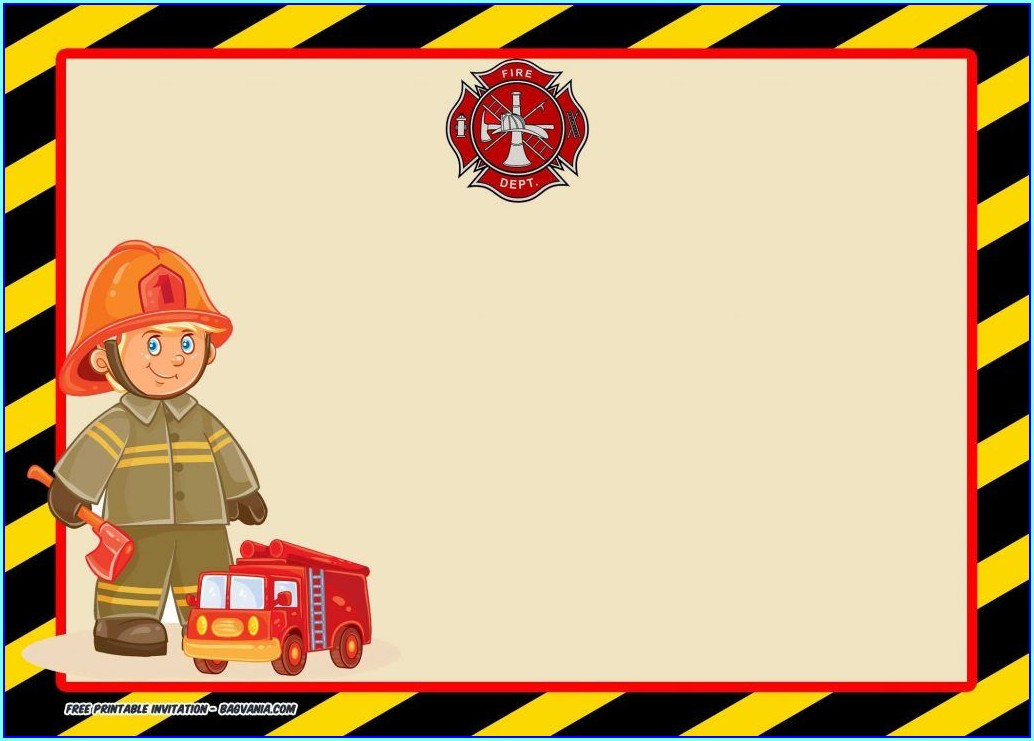 Fire Engine Invitations Template