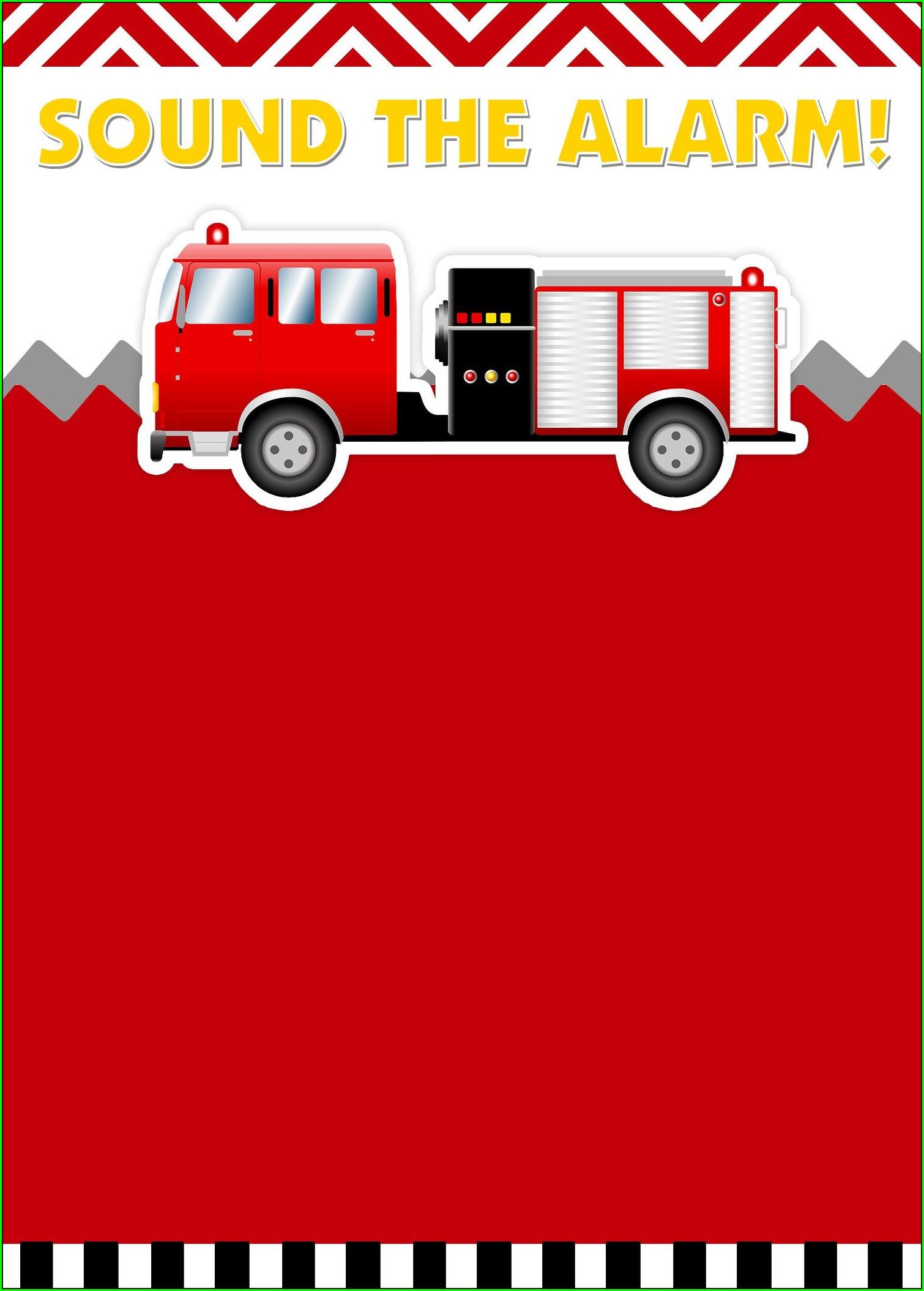 Fire Truck Birthday Invitation Templates Free
