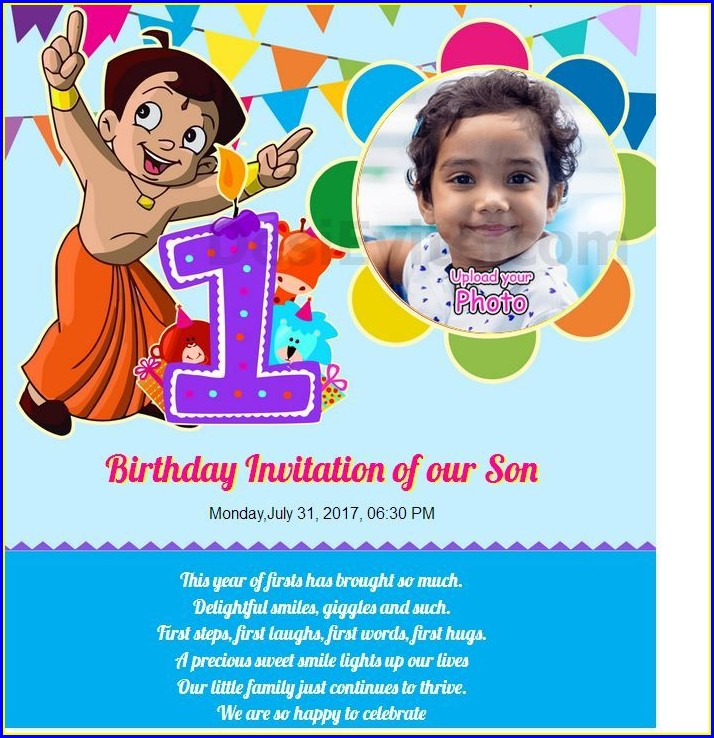 First Birthday 1st Birthday Invitation Card In Marathi Language