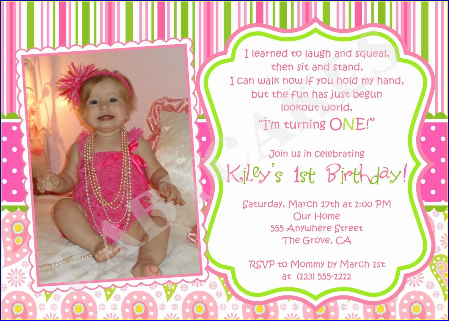 First Birthday 1st Birthday Invitation Message
