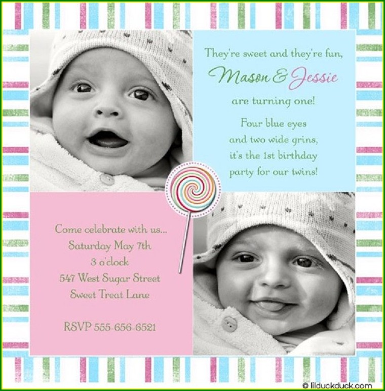 First Birthday Invitation Card With Photo