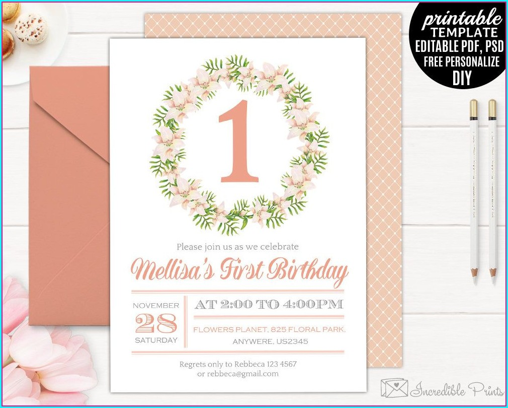 First Birthday Invitation Girl Template
