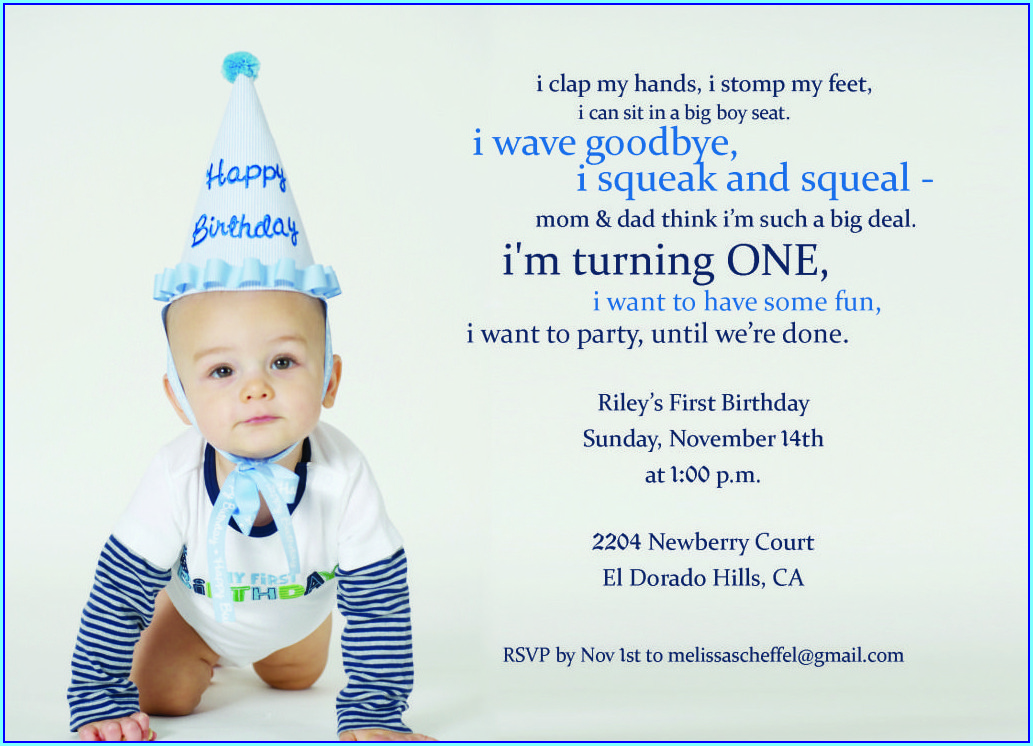 First Birthday Invitation Quotes For Baby Boy