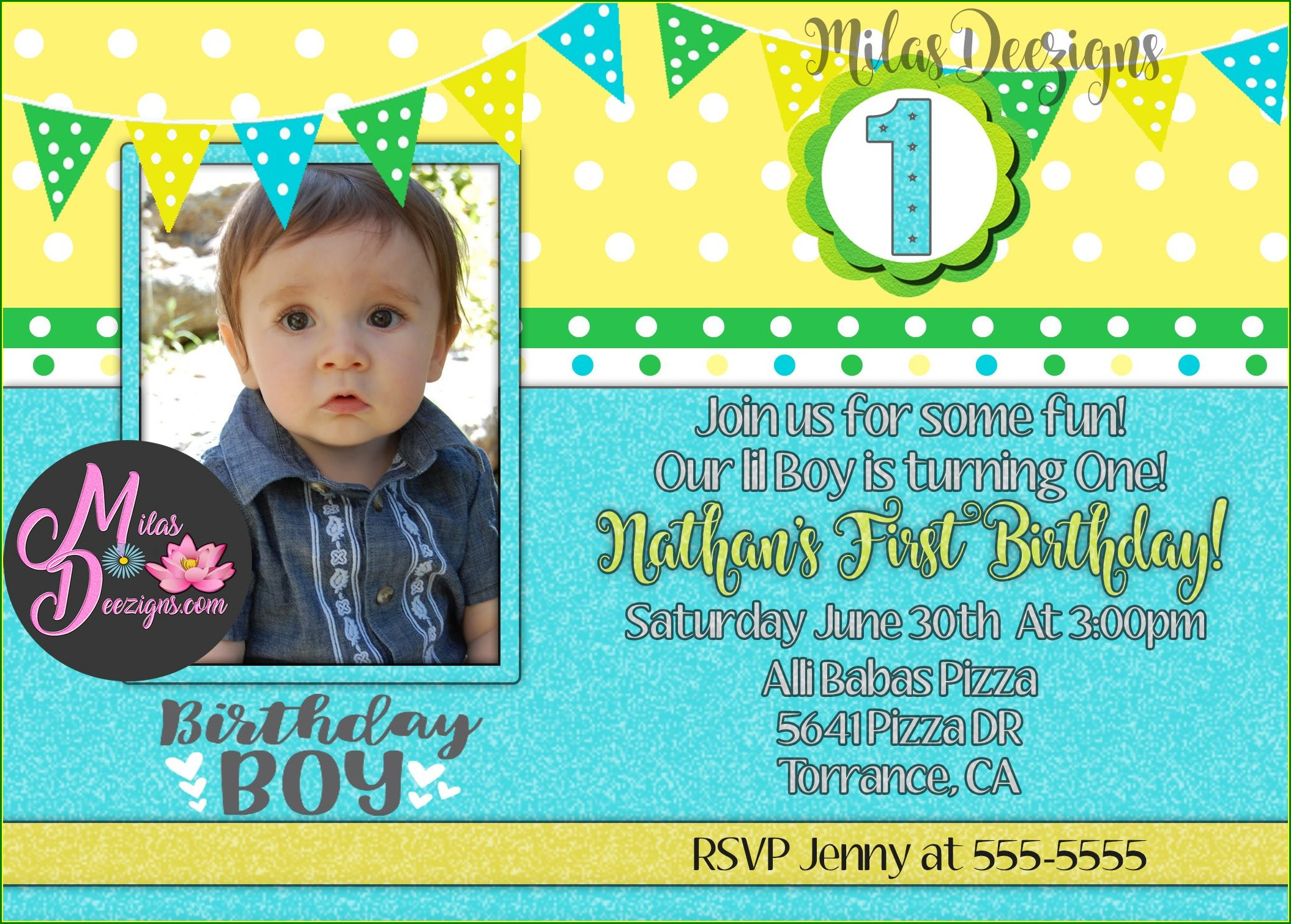 First Birthday Invitation With Photo Online