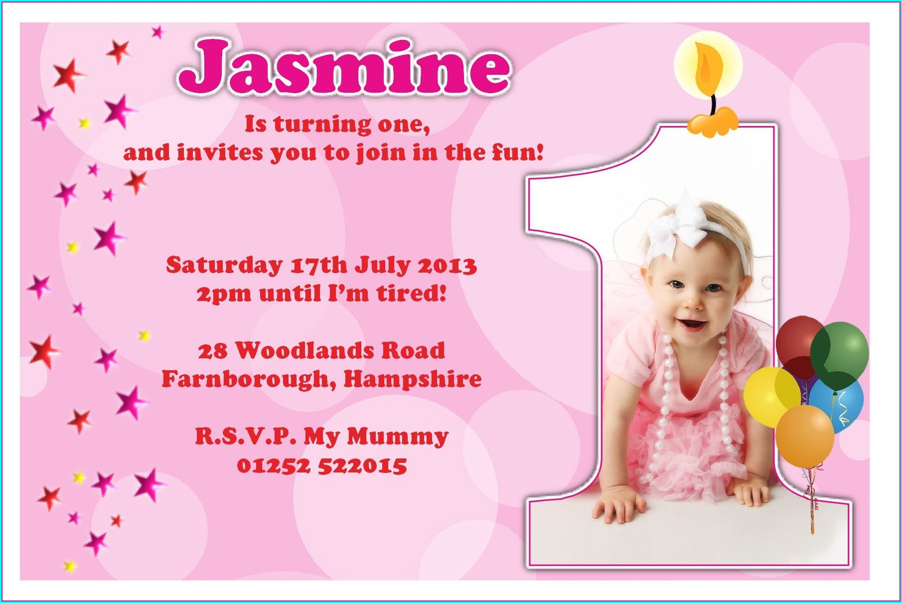 First Birthday Invitations Girl Messages
