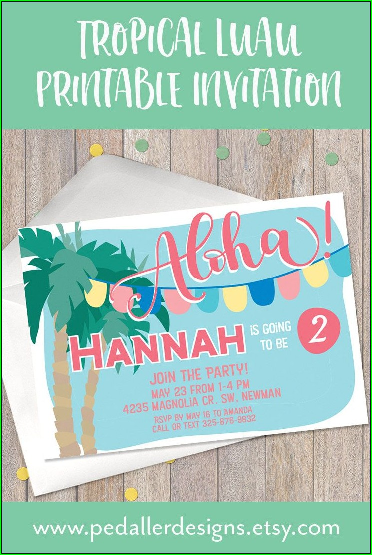 First Birthday Luau Invitations