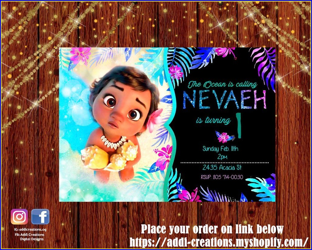 First Birthday Moana Invitation Template