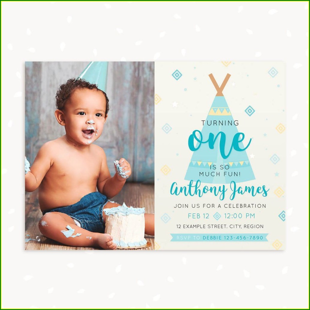 First Birthday Photo Invitations Boy
