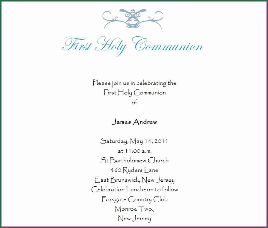 First Communion Invitation Wording
