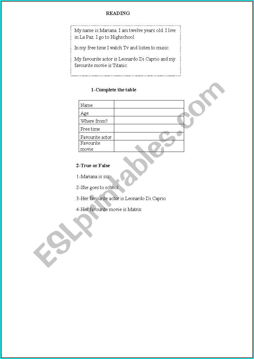 First Grade English Reading Worksheets