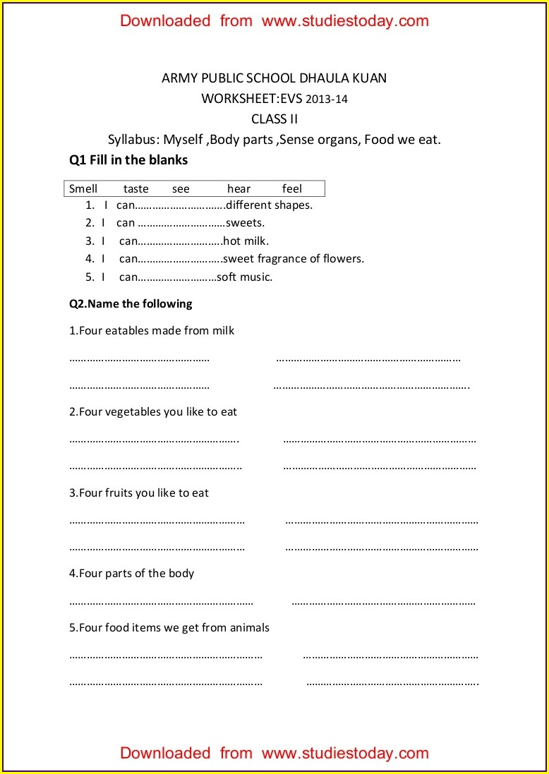 First Grade Evs Worksheets For Class 1 On Food