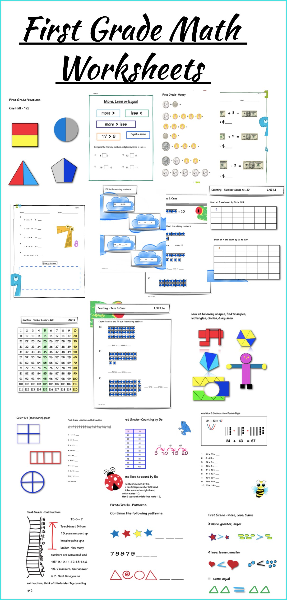 First Grade Math Review Worksheets