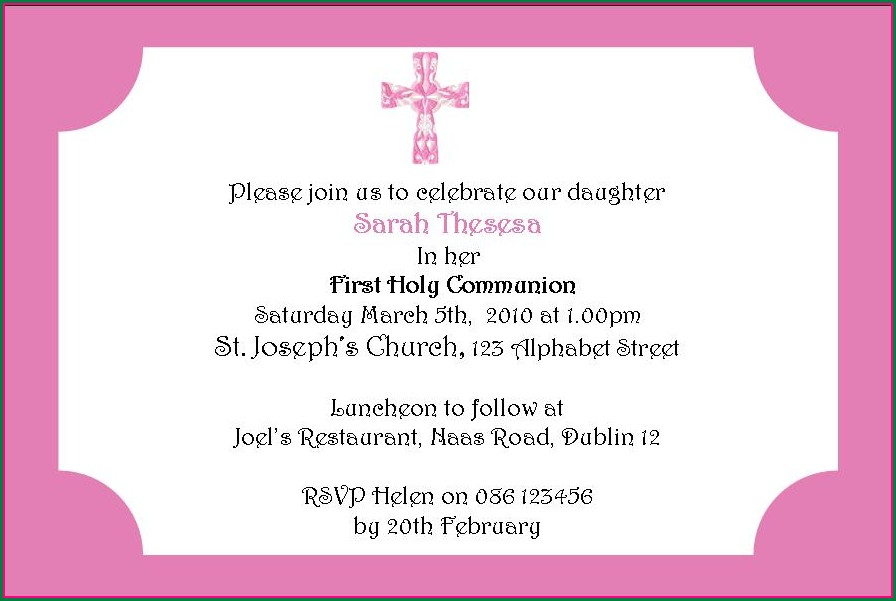First Holy Communion Invitation Card Wording
