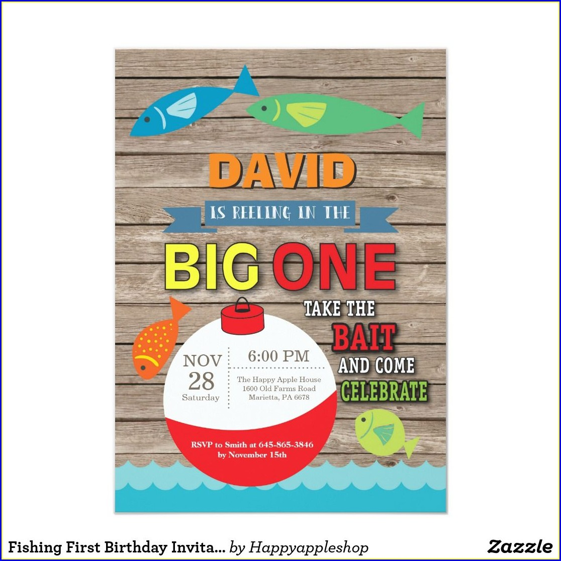 Fishing First Birthday Invitations