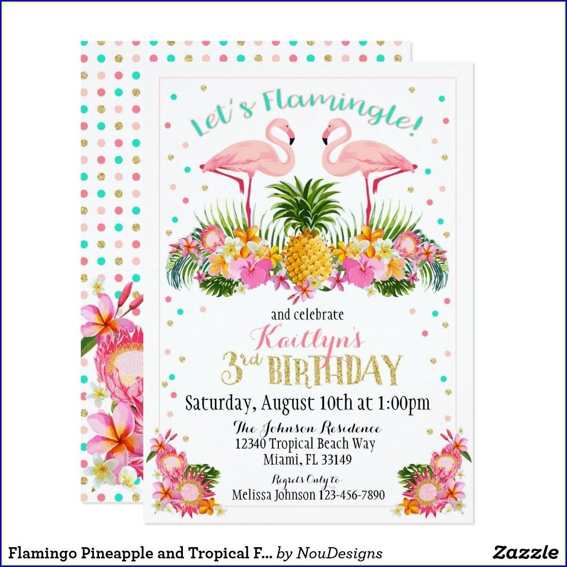 Flamingo And Pineapple Birthday Invitations