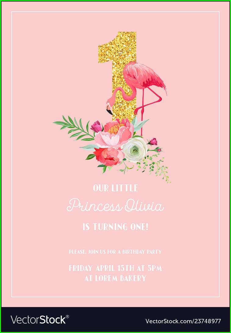 Flamingo Birthday Invitation Card