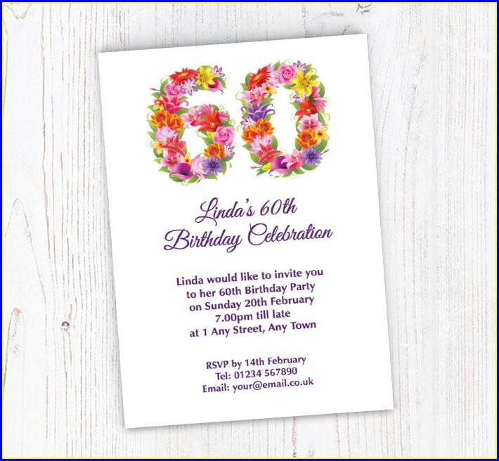 Floral 60th Birthday Invitations