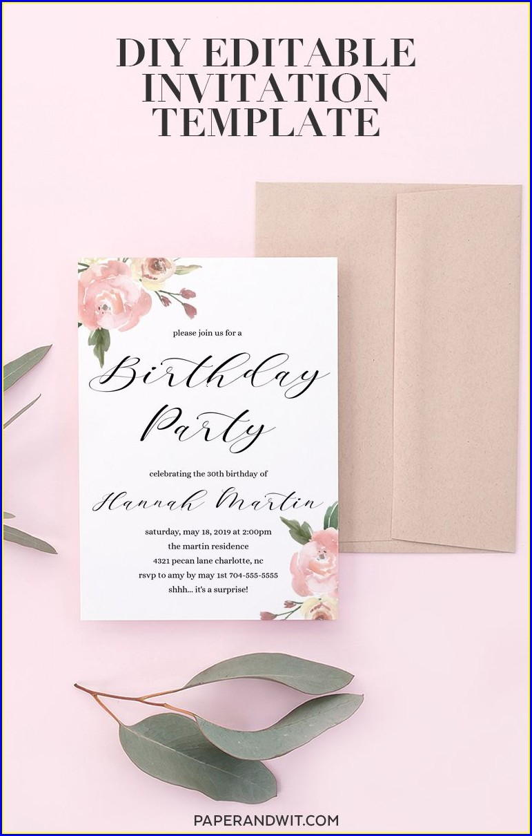 Floral Birthday Invitations Template