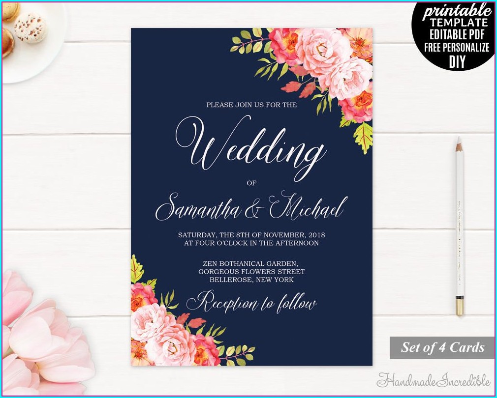 Floral Editable Wedding Invitation Templates Free Download