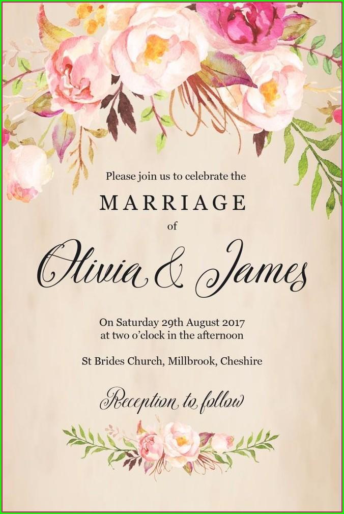 Floral Rustic Wedding Invitation Background