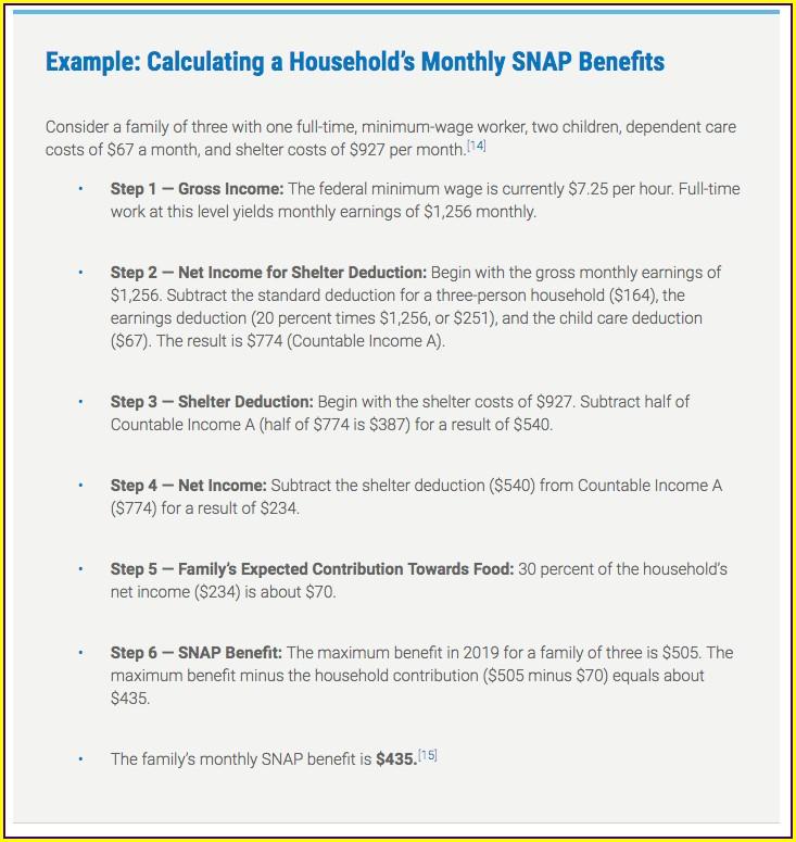 Food Stamp Worksheet Nc