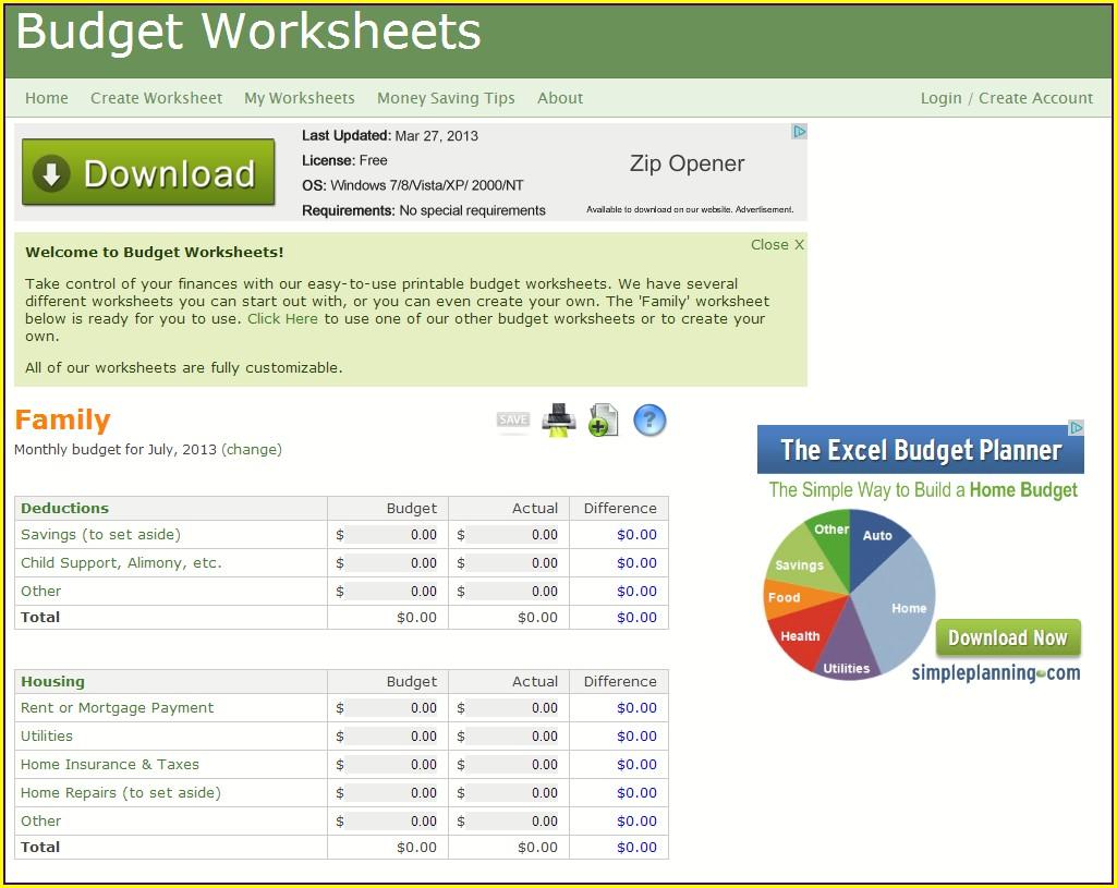 Freddie Mac Monthly Budget Worksheet