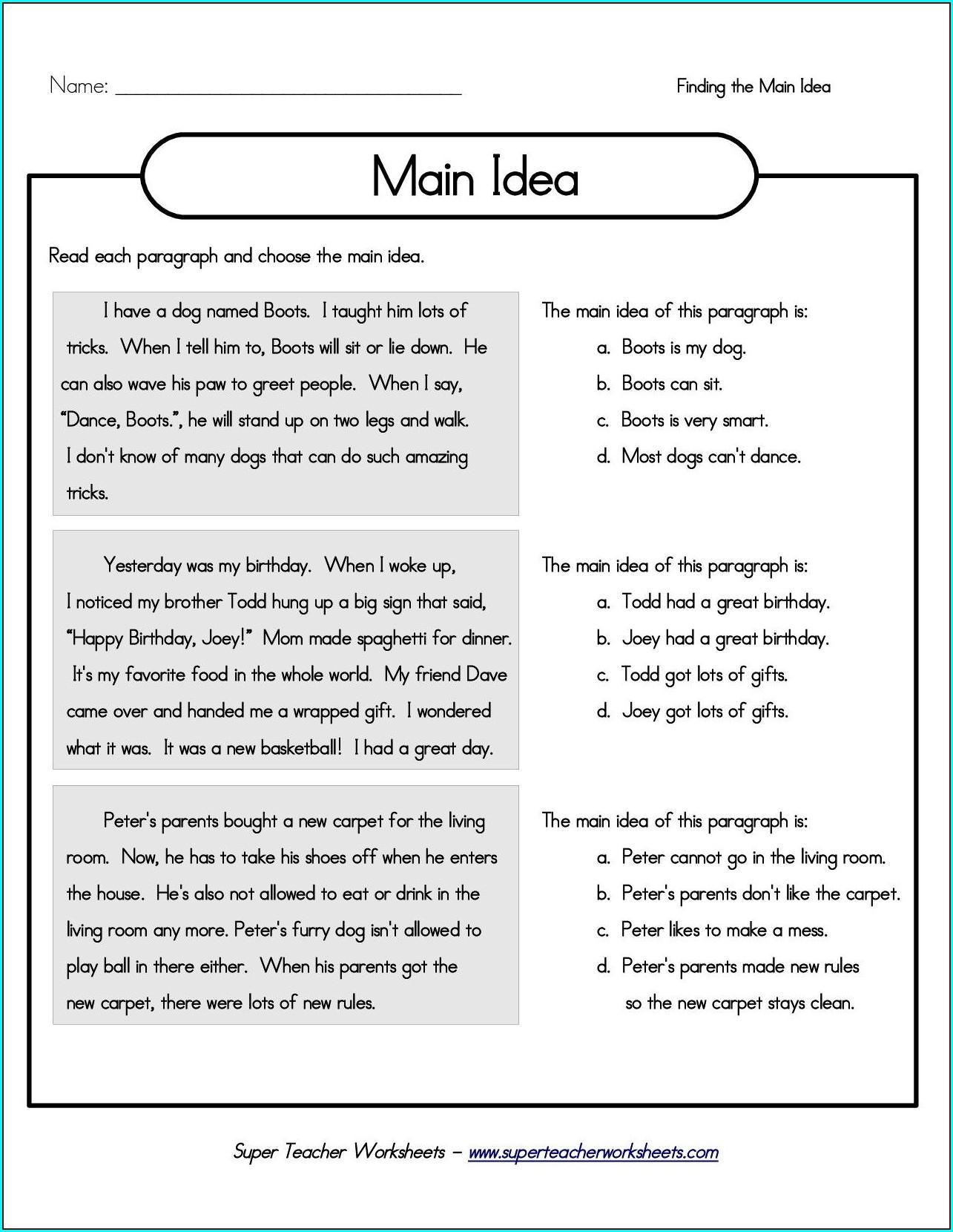 Free 3rd Grade Comprehension Worksheets